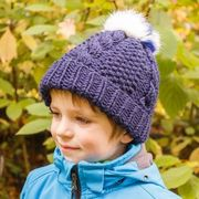 Náhled výrobku: Dětská pletená čepice perličkový vzor s copy