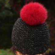 Náhled výrobku: Kožešinová bambule na čepici ze skandinávské polární lišky - barvená červená