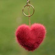 Náhled výrobku: Kožešinový přívěsek srdce - norek červenorůžový