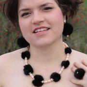 Náhled výrobku: Stříbrné kožešinové náušnice - norek a pravé perly