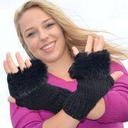Náhled výrobku: Pletené bezprstové rukavice s králičinou