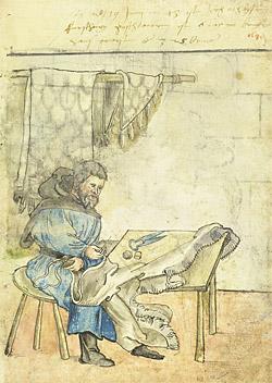 Kožešnická dílna v dobovém vyobrazení
